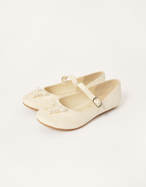 Pearly Butterfly Shimmer Shoes, Ivory (IVORY), large