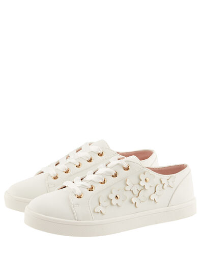 Butterfly Trim Lace-Up Trainers Ivory, Ivory (IVORY), large