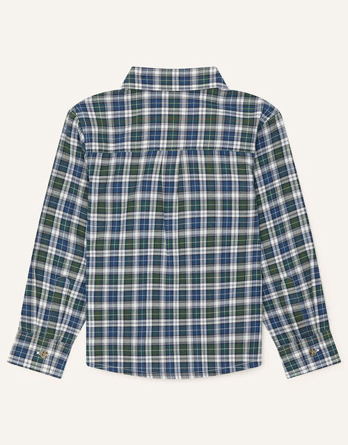 Check Shirt in Pure Cotton, Green (GREEN), large