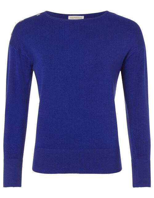 Star Stud Knit Jumper, Blue (COBALT), large