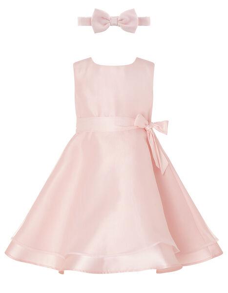 Baby Organza Dress and Bando Set Pink, Pink (DUSKY PINK), large