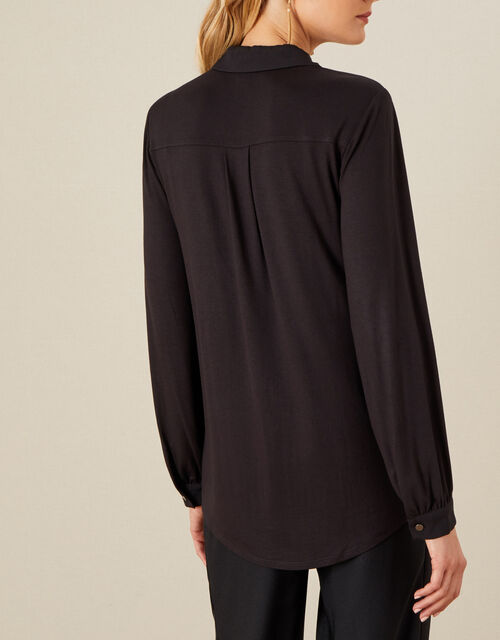 Woven-Jersey Mix Longline Shirt, Black (BLACK), large
