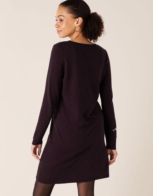 Sequin Star Knit Dress, Purple (PLUM), large
