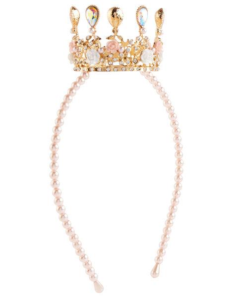 Pearl Teardrop Crown Headband , , large