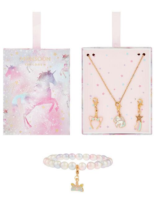 Rainbow Unicorn Changeable Charm Jewellery Set, , large