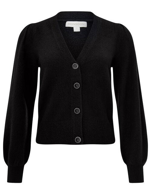Blouson Sleeve Cardigan with Recycled Fabric, Black (BLACK), large