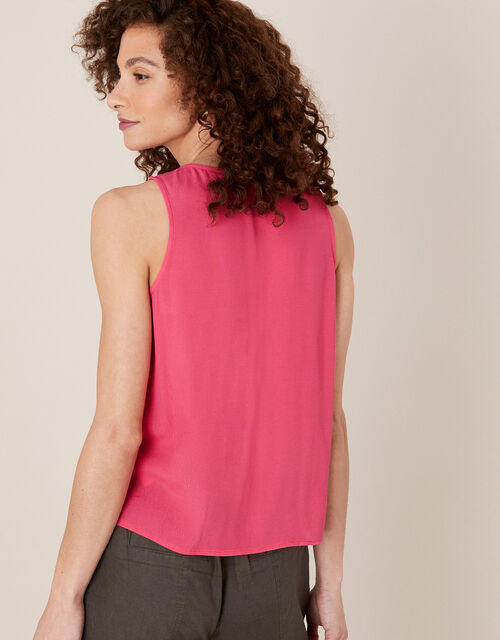Ruffle Short Sleeve Blouse, Pink (PINK), large