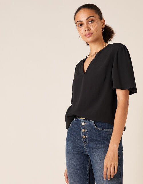 Flutter Sleeve Top with LENZING™ ECOVERO™, Black (BLACK), large