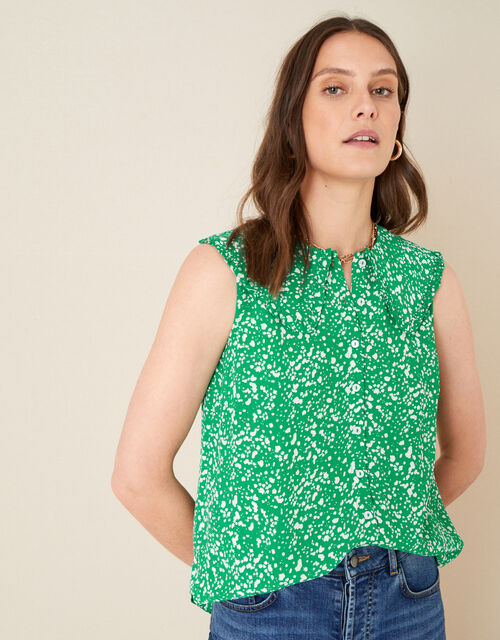 Leila Print Collar Sleeveless Top, Green (GREEN), large
