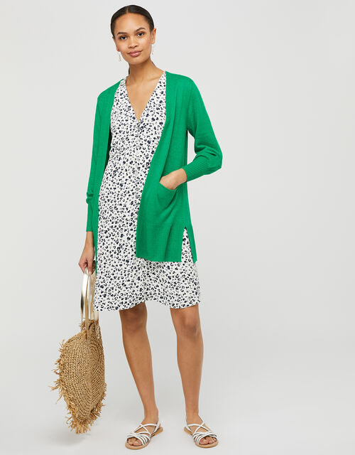 Longline Knit Cardigan in Pure Linen, Green (GREEN), large