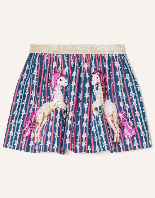 Sequin Unicorn Star Print Skirt, Blue (NAVY), large
