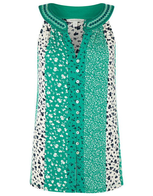 Poppy Patchwork Print Sleeveless Top, Green (GREEN), large