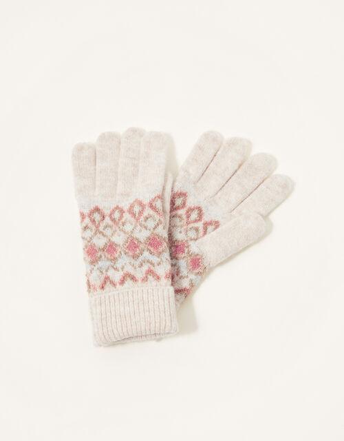 Fair Isle Knit Gloves, , large