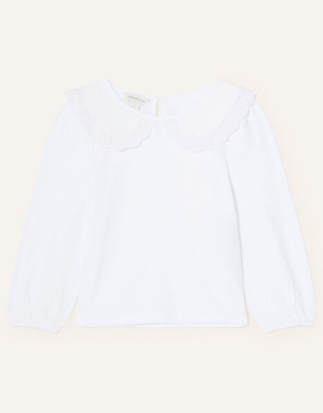 Lace Collar Jersey Top Ivory, Ivory (IVORY), large