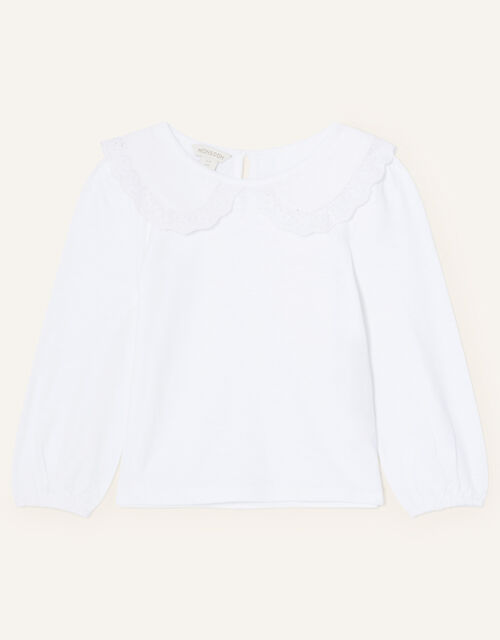 Lace Collar Jersey Top, Ivory (IVORY), large