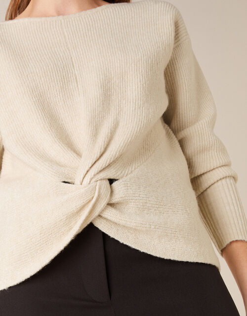 Twist Front Knit Jumper, Ivory (IVORY), large