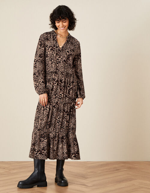 Animal Print Midi Dress in LENZING™ ECOVERO™ , Brown (BROWN), large