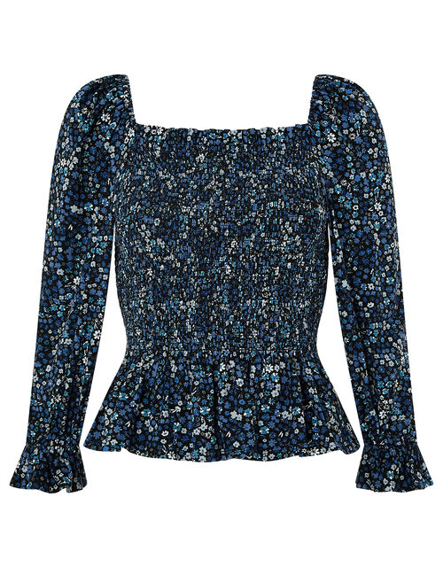 Davean Ditsy Floral Shirred Jersey Top, Blue (BLUE), large