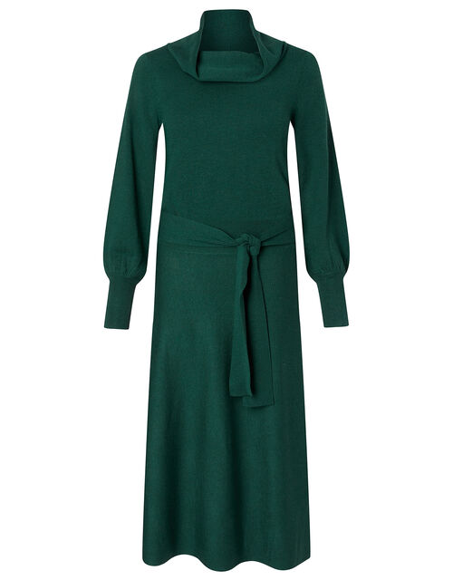 Cowl Neck Belted Knit Dress, Teal (TEAL), large