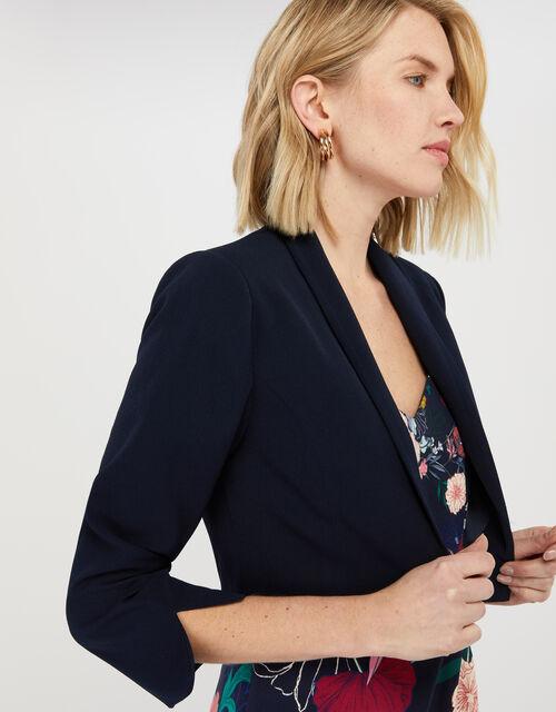 Juni Sustainable Cropped Smart Jacket, Blue (NAVY), large