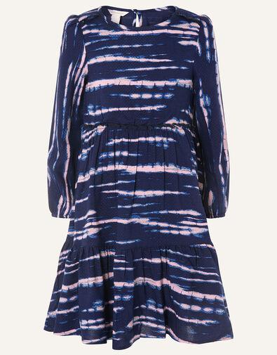 Tie Dye Woven Swing Dress Blue, Blue (NAVY), large