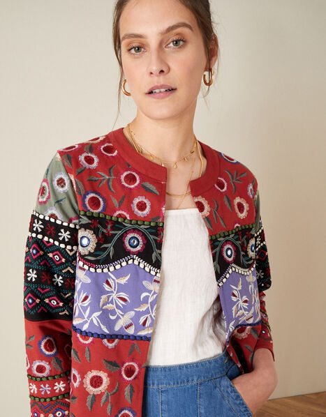 Embroidered Patchwork Jacket Red, Red (RED), large