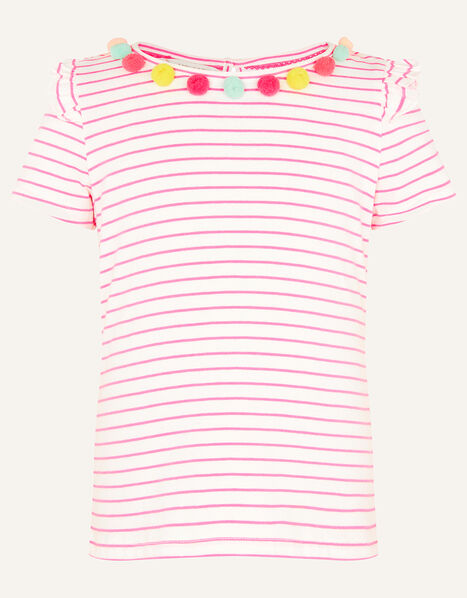 Fiesta Stripe Pom-Pom Top Pink, Pink (BRIGHT PINK), large
