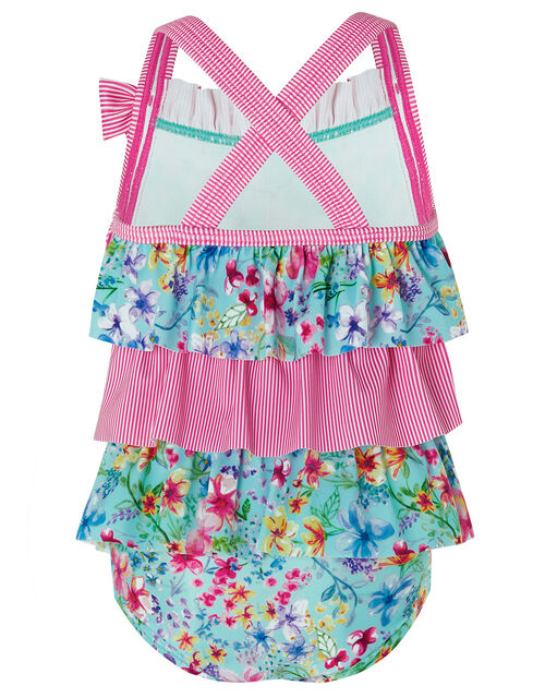 Baby Amberley Floral Swimsuit with Recycled Polyester, Blue (TURQUOISE), large