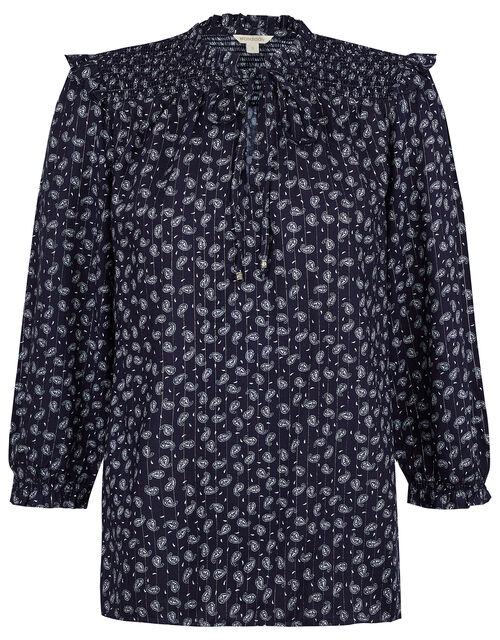 Paisley and Pinstripe Blouse in LENZING™ ECOVERO™, Blue (NAVY), large
