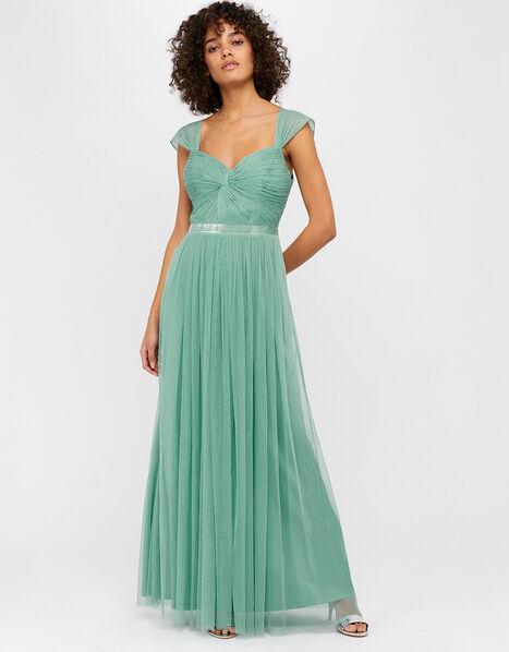 Jennifer Ruched Mesh Maxi Dress Green, Green (GREEN), large