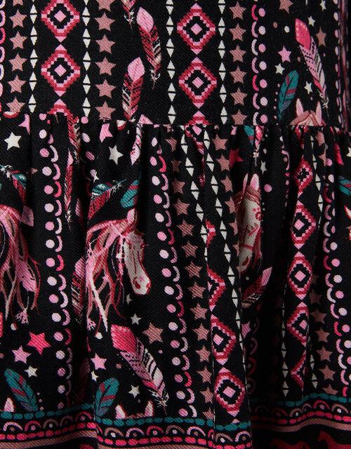 Horse Print Long Sleeve Dress, Black (BLACK), large
