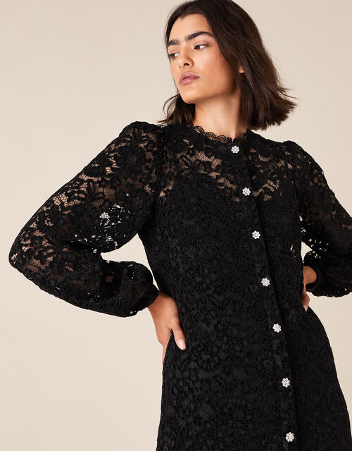 Francesca Floral Lace Shirt Dress, Black (BLACK), large