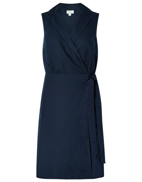 Carrie Tunic Dress in Linen and Organic Cotton, Blue (NAVY), large