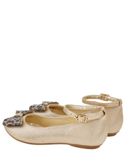 Animal Dazzle Bow Shoes, Gold (GOLD), large