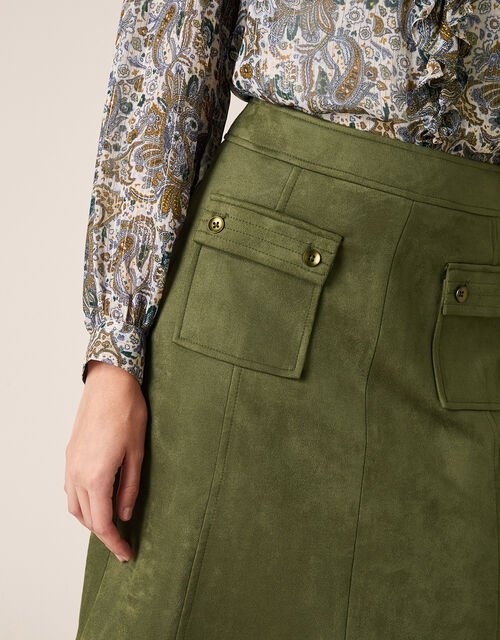Suedette A-Line Skirt with Recycled Fabric, Green (OLIVE), large