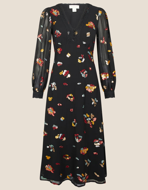 Sutton Animal Embellished Midi Dress in Recycled Polyester, Black (BLACK), large
