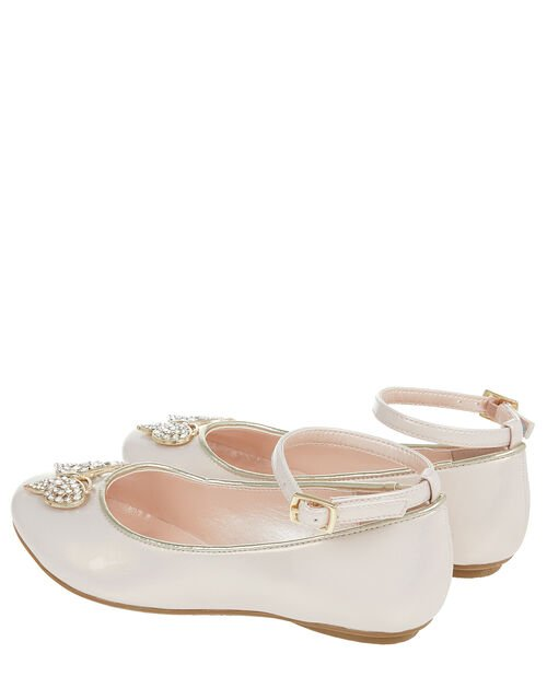 Harlow Butterfly Patent Ballerina Shoes, Pink (PALE PINK), large
