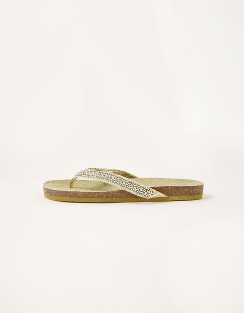 Embellished Toe-Post Flatform Sandals, Gold (GOLD), large