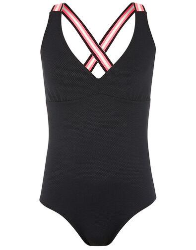 Sporty Strap Textured Swimsuit Black, Black (BLACK), large