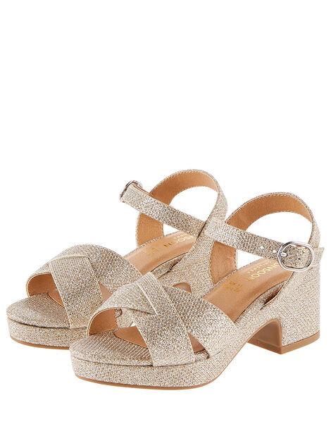 Shimmer Platform Sandals Gold, Gold (GOLD), large