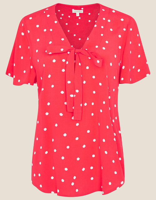 Spot Print Tie Front Top, Red (RED), large