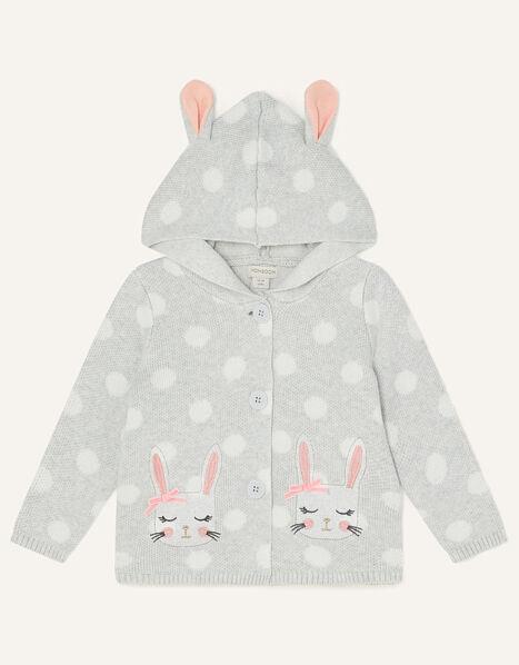 Baby Spot Bunny Cardigan  Grey, Grey (GREY), large
