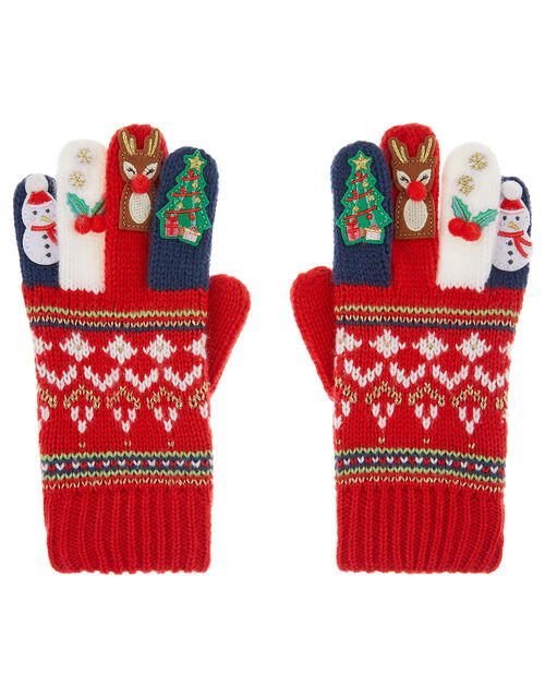 Festive Knit Gloves, Red (RED), large