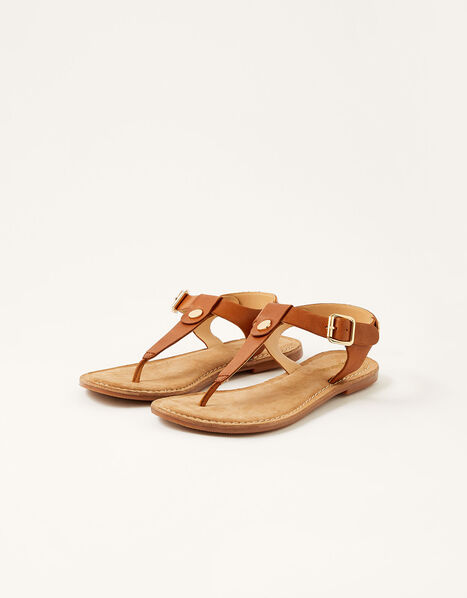 Layla Leather Toe-Post Sandals Tan, Tan (TAN), large