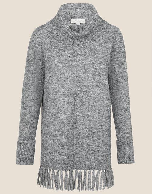 Fringe High Neck Jumper, Grey (CHARCOAL), large
