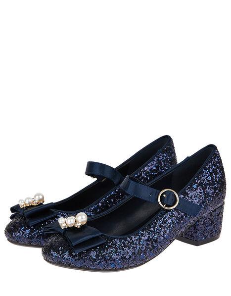 Embellished Bow Glitter Heeled Shoes Blue, Blue (NAVY), large