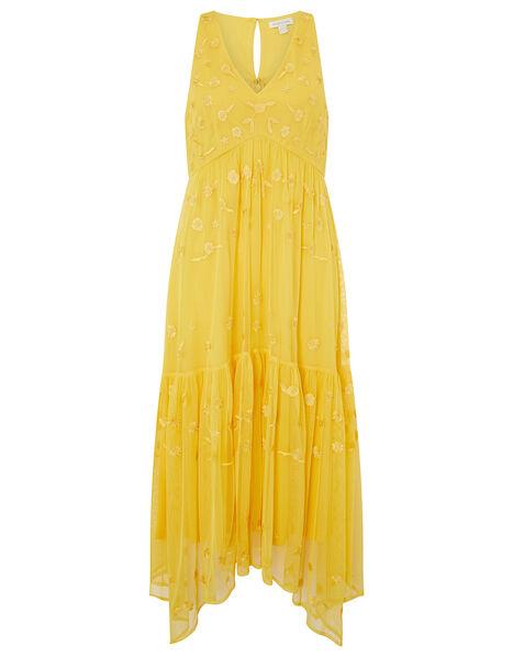 Carmela Sequin Hanky Hem Dress Yellow, Yellow (YELLOW), large