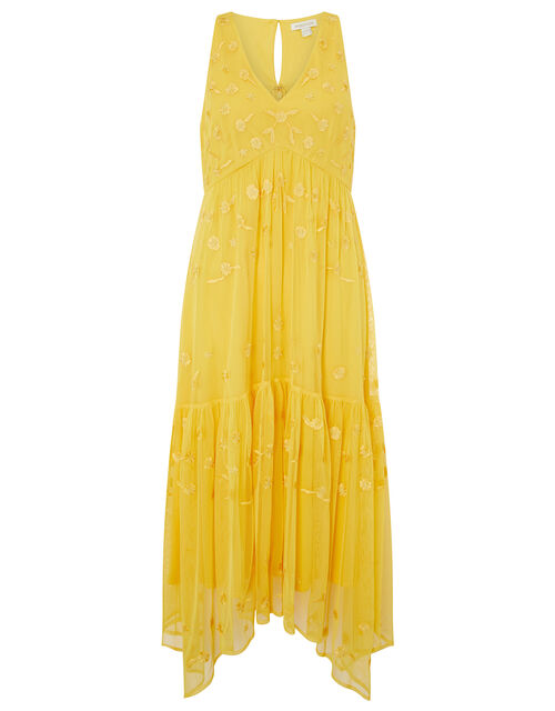 Carmela Sequin Hanky Hem Dress, Yellow (YELLOW), large