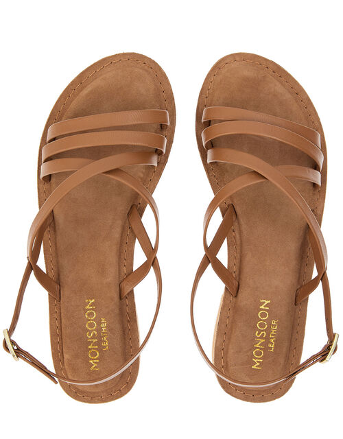 Cross-Over Leather Sandals, Tan (TAN), large