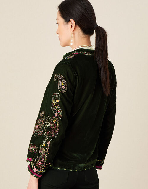 Velvet Embroidered Paisley Jacket, Green (GREEN), large